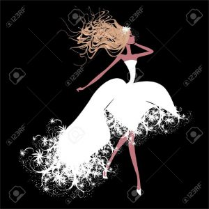 18335566-A-girl-in-a-white-dress-Stock-Vector-fashion-cartoon-silhouette